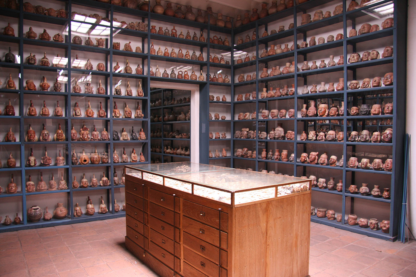 Pictured is the storage gallery of the Larco Museum.
