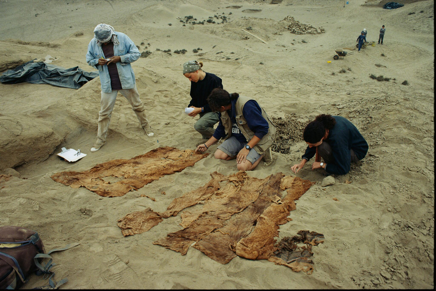 Textiles from pre-Inca mummy bundles.