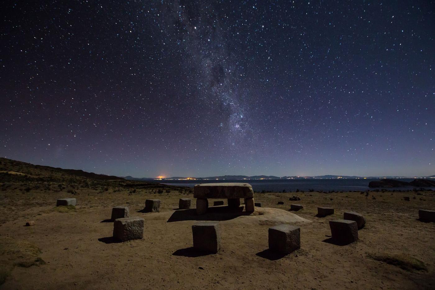 The Milky Way spans the night sky above an Inca sacrificial area near the Santuario on Isla del Sol.