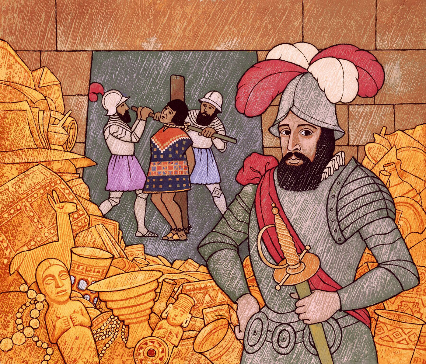 Illustrated is Spanish conquistador Francisco Pizarro, putting to death the last Inca emperor Atahualpa.