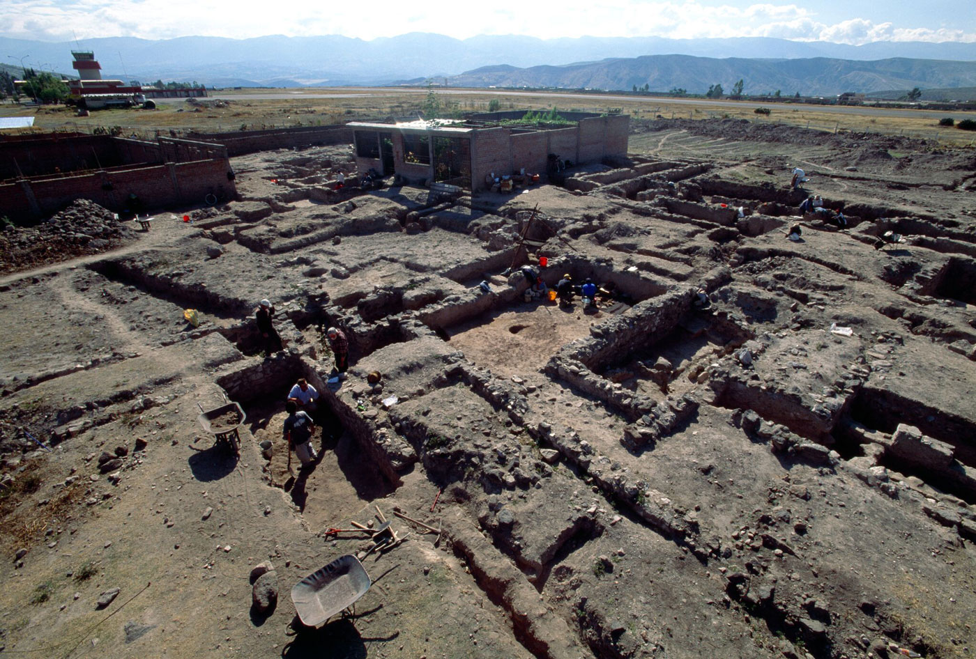 An elevated view of the excavation site at Huari in the Ayacucho Valley of Peru.