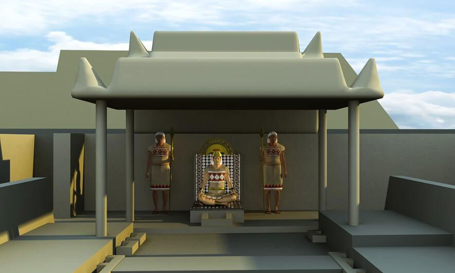 Archaeologists and historians combined forces to recreate scenes that may have taken place during the Sicán culture's heyday, around A.D. 1000. In a computer-generated image, a ruler seated at the throne is flanked by officials.